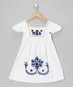 Take a look at this White & Blue Nayelli A-Line Dress - Infant, Toddler & Girls by Little Cotton Dress on #zulily today!