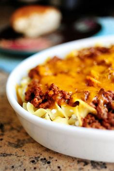 Sour Cream Noodle Bake - Sounds tasty! A sour cream/cottage cheese mixture with egg noodles, ground beef, and cheese.