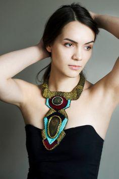 OOAK bib necklace big tribal chunky bead by RasaVilJewelry