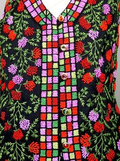 TODD OLDHAM Neon Beaded Vest // Bright Red Pink Green by braxae