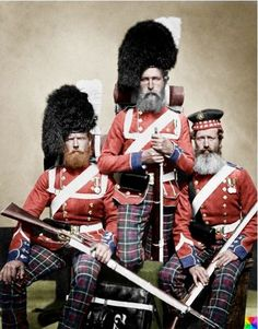 William Noble, Alexander Dawson and John Harper of the 72nd Highlanders. My personal favourite - absolutely hard as nails!! The artist left some discolouration on the beards though.