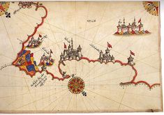 Map of Otranto, Italy by Piri Reis