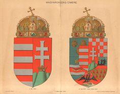1896 Coat of Arms of Hungary Original Antique Chromolithograph Antique Prints, Coat Of Arms, Hungary, The Originals, Antiques, Gallery, Illustration, Decor, Products