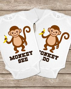Monkey See Do Monkeys Onesie Twin Twins Onesies Baby Gifts Set Matching Outfits Girls Boys Shirt