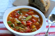 Rustic Vegetable Soup - with zucchini, yellow squash, and beans