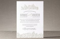 White Shadows Letterpress Wedding Invitations by Jessica Williams at minted.com. 100 at 485 0r 615 for 2 colours