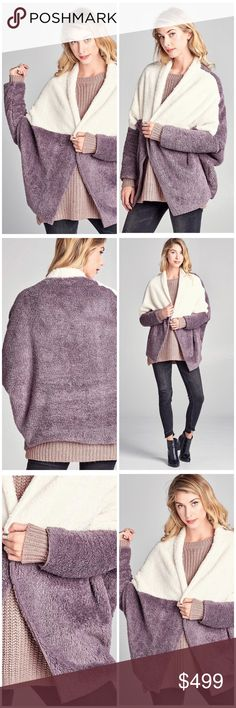"""❗️ARRIVED❗️LIMITED SUPPLY❗️ THE SOFTEST CARDI ❤️ Open front, OOBER SOFT, Oversized, plush faux fur jacket ❤️ Color Block front half panel and draped collar ❤️ THE ULTIMATE IN FUZZY SOFTNESS! ❤️ Fabric is PLUSH ❤️ 100% Polyester ❤️ Length 31"""" ❤️ Made in the USA 🇺🇸 Available in PURPLE/OFF WHITE & TEAL BLUE ❤️ Listing is for PURPLE/OFF WHITE ❤️ STOCK IS VERY LIMITED! ❤️ Wrap Coat Camel Utility Fashion BohoLoco Jackets & Coats Vests"""