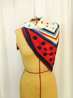 Vintage Scarf: Bright Polka Dots by FairSails on Etsy