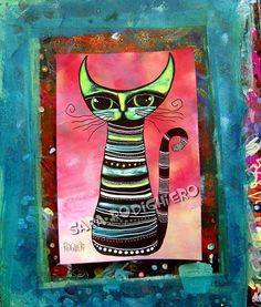 Mr. Whiskers - orig. Illustration cats & art  by Sara Rodighiero