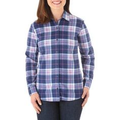 Riders by Lee Women's Long Sleeve Fleece Button Up, Size: Large, Multicolor