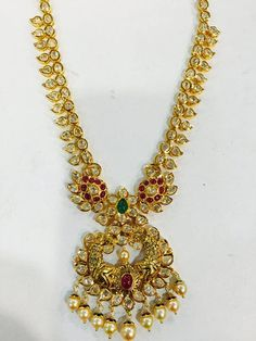 Traditional Gold Jewellery Designs, Traditional Gold Long Necklace Designs, 22K Traditional Jewellery Collections.