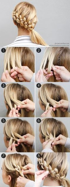 flechtfrisuren selber machen mittellange blonde haare flechten If you liked this pin, click now for more details. New Braided Hairstyles, Diy Hairstyles, Hairstyle Tutorials, Holiday Hairstyles, Hairstyle Ideas, Wedding Hairstyles, Summer Hairstyles, Hairstyle Braid, Latest Hairstyles