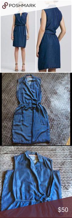 Elie Tahari Halley waist-tie dress Denim sleeveless dress Elie Tahari Dresses