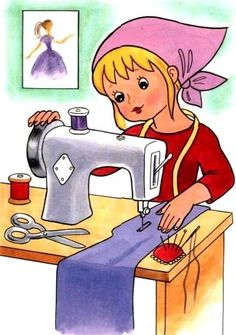 Sewing for dad pieces) Community Workers, Community Helpers, Picture Comprehension, Arte Fashion, Illustration Art, Illustrations, Sewing Art, Drawing For Kids, Clipart