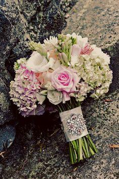 Elsa Corsi couture broach - Haiku Mill Photo Shoot by Tamiz Photography + CountDown Events Planning & Design Broach Bouquet, Bouquet Charms, Bouquet Wrap, Pastel Bouquet, Wedding Beauty, Dream Wedding, Pool Wedding, Wedding Stuff, Cute Wedding Ideas