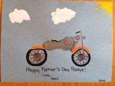 Motorcycle footprint - Life's a journey Enjoy the ride. Happy Father's Day Grandpa!