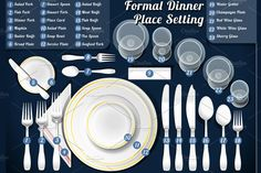 The Formal Table Setting. A complete guide to table settings including setting a table, selecting and purchasing tableware, and taking care of tableware. Table Setting Etiquette, Dining Etiquette, Etiquette Dinner, Comment Dresser Une Table, Formal Dinner Setting, Good Table Manners, Elegant Table Settings, Setting Table, Dinner Table Settings