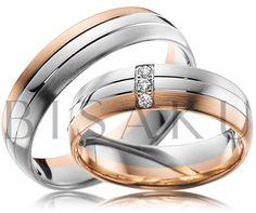 A34 Nádherné snubní prstýnky ve velmi moderní kombinaci červeného a bílého zlata, kdy bílé lehce převažuje. Dámský prsten zaujme třemi brilianty zasazenými vertikálně pod sebou, což prstenům dodává šmrnc a punc jedinečnosti. #bisaku #wedding #rings #engagement #brilliant #svatba #snubni #prsteny
