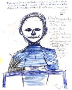 "The hairless ""Overseer"" described and drawn by Ken Rose based on his abduction experiences in central Michigan since the 1960s."
