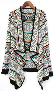 Grey Draped Collar Tribal Pattern Cardigan