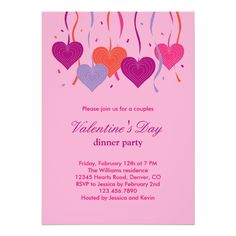 ValentineS Day Party Invitations Hearts And Swirls Engagement