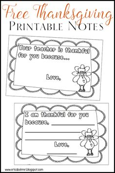 """Thanksgiving printer friendly """"Your Teacher is Thankful for you because. Thanksgiving Writing, Free Thanksgiving Printables, Thanksgiving Preschool, Thanksgiving Parties, Free Printables, Thanksgiving Appetizers, Thanksgiving Outfit, Thanksgiving Ideas, Thanksgiving Decorations"""