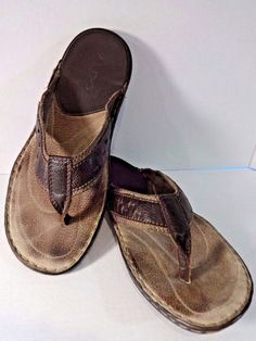 ALDO Mens Sandals 11.5 Brown Tan Flip Flops Leather Jute Stitching Men EU 46 #ALDO #FlipFlops