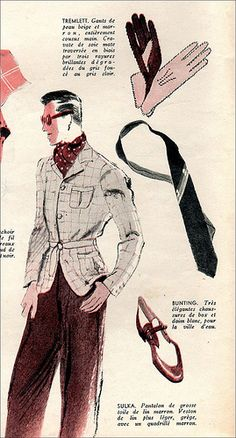 1939 summer mens high fashion. Inspired by safari looks with lots of stylish accessories. Fun Sophistication.