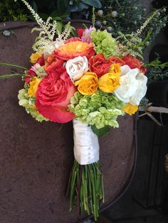 Coral, Yellow and Green - roses, hydrangeas and Alstilbe