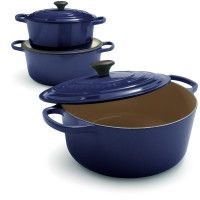 Le Creuset cookware.  Too pretty to put away in the cupboard.  Cooks evenly from stovetop to oven too!