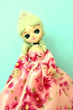 VINTAGE BRADLEY DOLL Pink Roses Blonde Stockinette by lavibohemme, $40.00