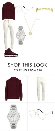 """His outfit"" by treasure-washington on Polyvore featuring STONE ISLAND, Yves Saint Laurent, Emporio Armani, Blue Crown, Versace, men's fashion and menswear"