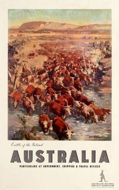 Cattle Of The Inland Australia James Northfield 1932 - original vintage poster by James Northfield listed on AntikBar.co.uk