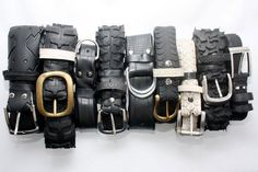 Just had to pin these: bicycle tire belts. I really like the rugged look and, BTW, I used to ride BMX and, even though I'd feel like a Poser wearing one of these, I love 'em!!