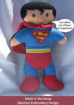Instant Download - Made in the Hoop Superman Stuffed Toy - Machine Embroidery Design for 5x7 inch Hoops - Hus, Pes and Jef formats on Etsy, $7.50