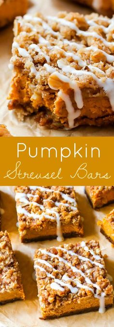 These pumpkin streusel bars are so much easier than pumpkin pie and everyone LOVES them! Instead of pumpkin pie this season, try my pumpkin streusel bars. With a gingersnap crust and brown sugar streusel topping, everyone will want seconds! Desserts Nutella, Köstliche Desserts, Delicious Desserts, Dessert Oreo, Dessert Bars, Appetizer Dessert, Fall Baking, Holiday Baking, Pumpkin Recipes