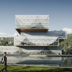 Schmidt Hammer Lassen Architects Wins Competition for Wenzhou-Kean University Student Centre & Library Facade Architecture, Historical Architecture, Win Competitions, Bamboo Construction, University Center, Mountainous Terrain, High Rise Building, Exhibition Space, Facade Design