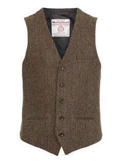 Harris Tweed Khaki Waistcoat