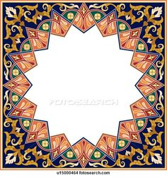 Clipart of Square frame with star copy space - Search Clip Art, Illustration Murals, Drawings and Vector EPS Graphics Images - Motif Oriental, Francis Picabia, Islamic Decor, Islamic Patterns, Borders And Frames, Islamic Art Calligraphy, Tropical Art, Pattern Images, Religious Art