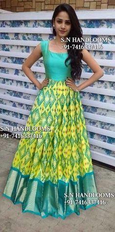 45 Trendy Ideas for dress indian ikkat - 45 Trendy Ideas for dress indian ikkat Source by ramanalamati - Half Saree Lehenga, Saree Gown, Anarkali Dress, Sari Dress, Lengha Blouse Designs, Half Saree Designs, Indian Fashion Dresses, Indian Gowns Dresses, Long Gown Dress