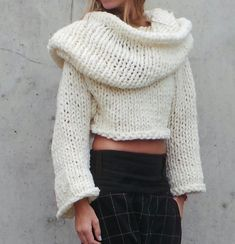 Hooded ivory chunky slouch sweater by ileaiye on Etsy