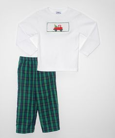 Look at this #zulilyfind! White Tree Car Smocked Tee & Green Pants - Infant, Toddler & Boys #zulilyfinds