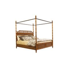 Tommy Bahama West Indies Bed - Twin ($1,178) ❤ liked on Polyvore featuring home, furniture, beds, estate furniture, twin headboards, canopy bed, twin canopy beds and island furniture
