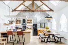 beams + wall of tile