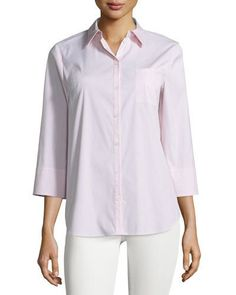 Lafayette 148 New York Pinstripe 3/4-Sleeve Blouse, Bellini Multi New offer @@@ Price :$278 Price Sale $165
