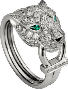 Panthère de Cartier ring White gold, diamonds, emeralds, onyx