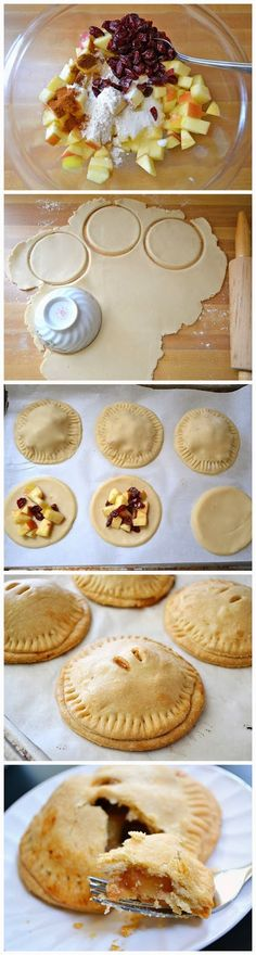 Ingredients DOUGH  1.75 cups all-purpose flour 1 tsp sugar 12 Tbsp (1.5 sticks) cold butter (salted) ¼ cup cold water  FILLING  2 small apples ¼ cup dried cranberries 1 Tbsp sugar ½ Tbsp all-purpose flour ¼ tsp cinnamon ⅛ tsp ground cloves