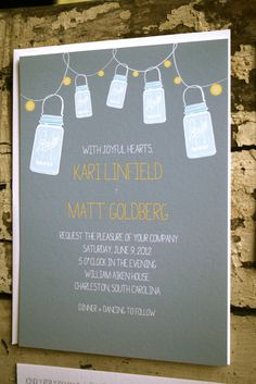 Vintage Ball Jar Wedding Invitation Suite.