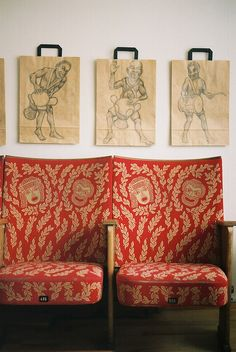 the upholstery pattern, the paper bag print and cluster, the colour - oy
