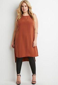 Plus Size Dropped-Hem High-Slit Tunic